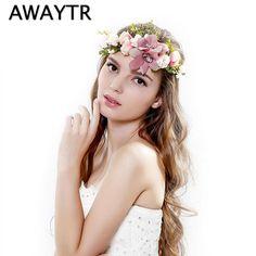 AWAYTR 들러리 꽃 크라운 웨딩 인공 꽃 머리 화환 여성 헤어 액세서리 꽃 머리띠