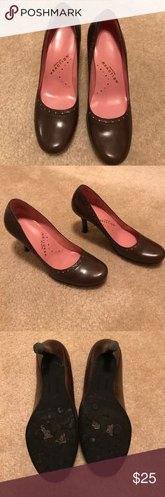 "Kenneth Cole Reaction heels Lightly worn heels. Dark brown leather w/ pink details.  Size - 5.5. Heel height - 3"". Worn a couple times. In good condition w/ a scuff on left heel (shown in picture) Kenneth Cole Reaction Shoes Heels"