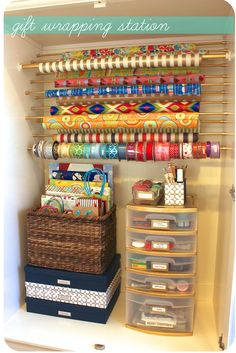 gift wrapping organization-inside an ikea wardrobe. This is an idea for the one sitting in the garage