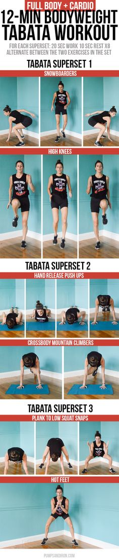 Full-Body and Cardio Tabata Workout - 12 minute long and made up of three tabata supersets of bodyweight exercises Full Body Workouts, Tabata Workouts, Lower Ab Workouts, Butt Workout, Easy Workouts, Free Workout, Boxing Workout, Workout Gear, Yoga Fitness