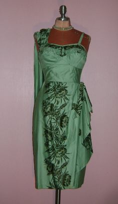 50s vintage 1950s stunning Green Hawaiian Sarong rare color mint gold flowers wiggle sun dress. via Etsy.