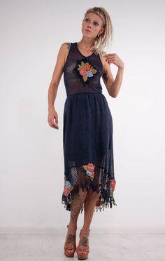 Crochet dress Crochet navy dress maxi sundress Crochet blue lacy sundress blue…