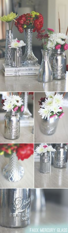 Awesome And Creative Diy Holiday Centerpiece Faux Mercury Glass Vases Holiday Centerpieces, Christmas Table Decorations, Centerpiece Ideas, Elegant Centerpieces, Holiday Decor, Mason Jar Crafts, Mason Jars, Mercury Glass Mirror, Decoupage
