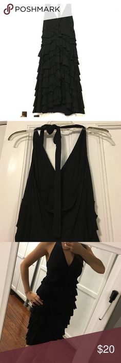 Black cotton ruffle halter dress. Cute & fun party dress from Express.  Perfect little black dress that every woman needs! Super comfy stretchy cotton blend, worn once.  Adorable ruffles on body, tie back halter top. Express Dresses