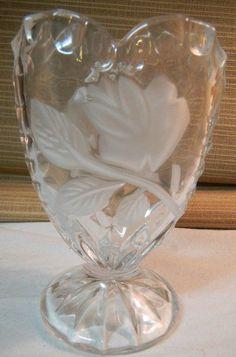 Lead Crystal Small Vase Pedestal Base Etched Rose Design Glass Clear Frosted | eBay
