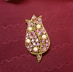 Vintage Pink Rhinestone & Stones TULIP Brooch LARGE di AmazingFun