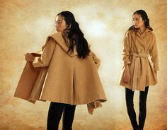 stylish wool hooded cloak for women  soft wool fabric, big hooded, flattering bottom. 3 way to wear this coat ! see our photos - casual look,