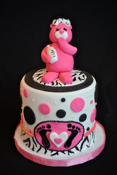 Baby Shower Cake SweetEs Bakeshop Babyshowercake Pinkbear Polkadots Logo