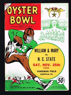 1950 Oyster Bowl William & Mary vs N.C. State College Football Program | eBay