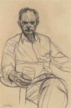 R.B. Kitaj (American, 1932-2007), Yona in Paris, 1982. Charcoal, 55 x 36.2 cm.