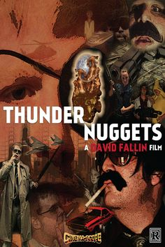 """""""THUNDER NUGGETS"""" – a personal project where I used Facebook images of friends to create a vintage film poster filled with cliches. Created by David Fallin. #graphicdesign #posterdesign #design"""