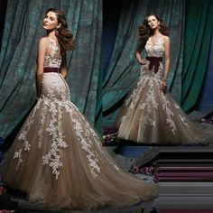 2014 New Tulle Lace Mermaid Bridal Party Ball Prom Gown Formal Evening Dress
