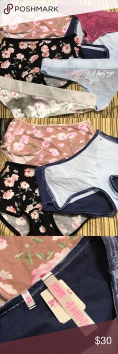 VS PINK Velvet Medium Bundle Hi, I'm selling this velvet brand new panties bundle, all with tags. I have 3 Velvet Thongs and 3 Velvet trim boyshorts PINK Victoria's Secret Intimates & Sleepwear Panties