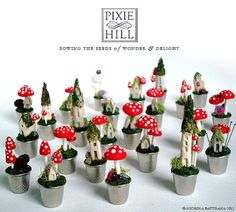 "Pixie Hill: How to... make teeny weeny mushrooms  Nichola ""Knickertwist"" Battilana makes cute little mushrooms and houses and puts them in thimbles and teacups. She has tutorials for a few of her whimsical creations here."