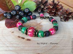 """Купить Браслет """"Лесные ягоды"""" - фуксия, зеленый, черный, браслет, купить подарок, купить браслет"""