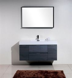 Gallery One KubeBath Bliss High Gloss Gray Oak Wall Mount Single Sink Modern Bathroom Vanity