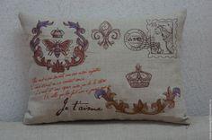 """Купить Подушка из серии """"Письма из Парижа"""" Корона - серый, подущка, Париж, оригинальный подарок, лен"""