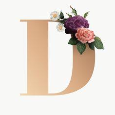 Stylish Letters, Fancy Letters, Floral Letters, Monogram Letters, Monogram Wallpaper, Bear Wallpaper, Rose Gold Quotes, Logo Online Shop, Floral Font