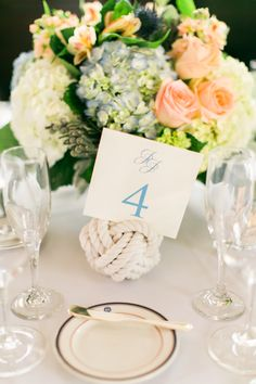 Ball of Rope Nautical Wedding Centerpiece | photography by http://www.rebeccaarthurs.com