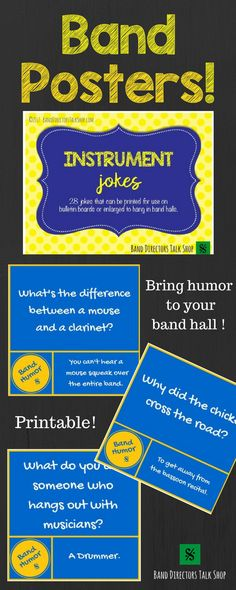 Add humor to your band hall with these colorful, witty instrument jokes posters! Print for your bulletin board or project a different poster onto your front board/screen daily to help set the mood as students enter your classroom. Enjoy a good laugh- your students will too! Cost is $8.00 HERE! https://www.teacherspayteachers.com/Product/Instrument-Jokes-Band-Hall-Bulletin-Board-Set-and-Room-Decor-3211350