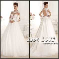 Find More Wedding Dresses Information about Free Shipping Long Sleeve Lace Appliqued Open Back Sexy Wedding Dress,High Quality Wedding Dresses from 100% Love Wedding Dress & Evening Dress Factory on Aliexpress.com