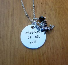 Sleeping Beauty Inspired Necklace. Villain Maleficent Mistress of all evil. Silver colored. Swarovski crystal.