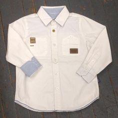 Kanz Junior Boys Explorer Style Long Sleeve Button Up Collared White Shirt