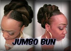 Braided bun with jumbo hair on natural hair. Easy protective style for any natural hair type. Low hair updo done on natural hair -------------------------. Half Braided Hairstyles, Ethnic Hairstyles, Trending Hairstyles, Down Hairstyles, Teenage Hairstyles, Natural Hair Bun Styles, Natural Hair Types, Short Hair Styles, Crochet Hair Extensions