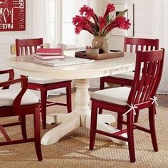 Paint dining table and chairs with Rust-Oleum 2x cranberry, COLOR with white seat pad