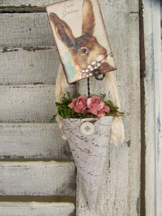 Handmade Easter Ornament Victorian Paper Cone