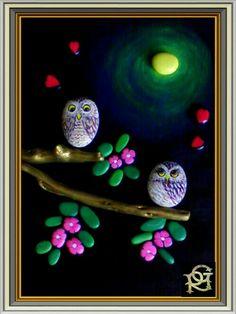 Gufetti innamorati -Painted Stones di  Rosaria Gagliardi