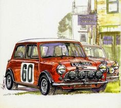 Mini, (Facebook 16 04 2015) Mini Cooper S, Classic Mini, Classic Cars, Mini Lifestyle, Morris Minor, Car Illustration, Smart Car, Mini S, Automotive Art