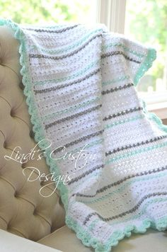 Neutral Baby Blanket, Crochet Baby Blanket, Mint Green Gray Hand Crochet Baby Blanket, Baby Shower Gift Neutral, Unique Baby Gift - We publish good gifts idea Neutral Baby Blankets, Chevron Baby Blankets, Knitted Baby Blankets, Baby Girl Blankets, Baby Afghan Crochet, Newborn Crochet, Crochet Blanket Patterns, Baby Afghans, Crochet Gifts
