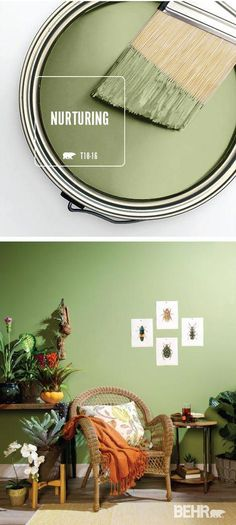 The BEHR Paint Color of the Month, Nurturing, is the perfect choice for your interior design scheme. This light green pastel hue is calming and peaceful, fitting in beautifully with a boho-chic home decor style. Behr Paint Colors, Bedroom Paint Colors, Interior Paint Colors, Paint Colors For Home, House Colors, Home Interior Design, Wall Colors, Kitchen Interior, Painting Bedrooms
