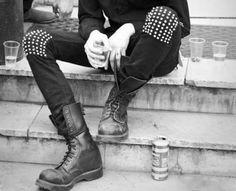 Punk... Black boots/heel, these pants, hi-low black sheer shirt, neon tank underneath, neon belt to match. yaaaay! If I had money to blow. :)