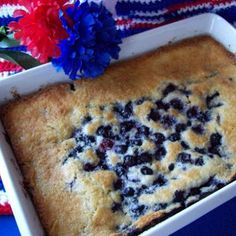 Blueberry Cobbler: Preheat oven to 350 deg f. Combine 2/3 c flour, 1/2 c sugar, 1 1/2 t baking pwd, 1/2 t salt. Stir in 2/3 c milk and mix well. Melt 2 T butter in 1 1/2 quart baking dish in microwave on high for one minute. Pour batter into melted butter. Add 2 c blueberries on top of batter. Bake at 350 degrees for 40-45 minutes.
