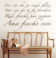 AMA FINCHE' VIVI adesivo murale sticker 39€ MADE IN ITALY