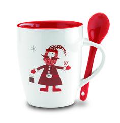 Taza de navidad con cuchara incorporada