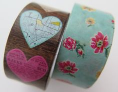 Washi Tape  2 Rolls  Flowers and Hearts  20mm  by HazalsBazaar, $6.00