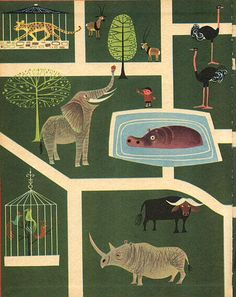 Vintage Illustrations The Animals' Party - inside cover 35 3 Préc Suiv Story and pictures by Elisabeth Brozowska - Wonder Books NY 1962 - Story and pictures by Elisabeth Brozowska - Wonder Books NY 1962 Art Graphique, Grafik Design, Children's Book Illustration, Illustrations Posters, Vintage Illustrations, Artwork, Character Design, 3d Character, Creations