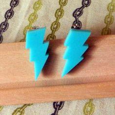 Lightening Bolts  Post Earrings  Laser Cut by misterotherone, $10.00