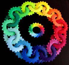 "From the ""Modular Origami"" tumblr -- ""Folded by: Telma Côrte-Real -- Name of Model & Designer: Ring of Rings (Mette Pederson)"""