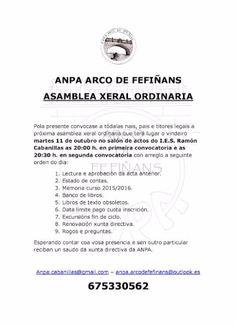 CORES DE CAMBADOS: ASAMBLEA XERAL ORDINARIA DA AMPA DO I.E.S. CABANIL...