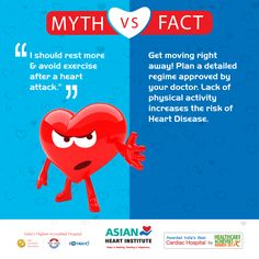 "#MYTH VS #FACT  MYTH: ""I should rest more & avoid exercise after a #heart #attack""  FACT: Get moving right away! Plan a detailed regime approved by your doctor.Lack of physical activity increases the risk of Heart #Disease #AHI"