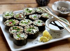 Quinoa Sushi and DIY Pickled Ginger--just made this tonight. It was my first time making sushi at home and this was delicious and simple. Thanks to the quinoa we had a serving of protein as well. Quinoa Sushi, Veggie Sushi, Healthy Sushi, Healthy Eating, Think Food, I Love Food, Food For Thought, Healthy Recipes, Whole Food Recipes