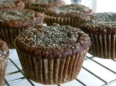 1 ¾ cups blanched almond flour, ¼ cup unsweetened cocoa powder,1 teaspoon baking soda, ½ teaspoon fine grain sea salt. 2 Tablespoons of chia seeds + 1 Tablespoon for muffin tops, ½ cup diced pitted dates, about 7 dates (easier to dice when they're cold) (optional, or ½ cup chocolate chips), 4 Tablespoons melted unrefined coconut oil, 4 Tablespoons whole unsweetened yogurt, 1/3 cup 100% pure maple syrup or honey, 2 large eggs, 1 teaspoon pure vanilla extract, 3 medium very ripe bananas…