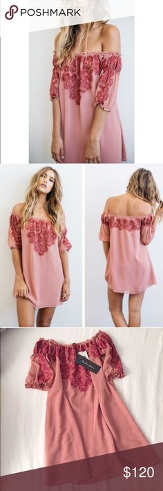 For Love and Lemons blush dress Romantic, blush and sangria tones, lush floral embroidery and a pintuck ruffled off-the-shoulder silhouette make the Sicily mini dress by For Love and Lemons perfect for summer. Size XS fits up to a size small. 100% authentic with tags attached. Bought it from another posher but didn't fit me. I'm wide shouldered. For Love and Lemons Dresses Mini