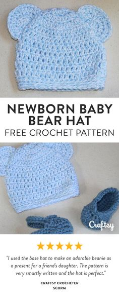 Newborn Baby Bear Hat. This quick and easy crochet baby hat features bear  ears and ribbed edging. Get the free pattern ... 52f86ba4873c
