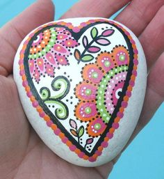 Hand Painted Abstract Heart Flower Orange and Pink Original Art River ...