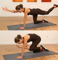 Quadruped:  To start, get on all fours keeping your hands under your shoulders and your knees under your hips. Be sure to keep your abs tucked in to stabilize your body. With control, reach your right hand out, extending your left leg. Then connect your elbow with your knee under your body, rounding your head and your back.  Repeat 15 reps on each side.  See the move in action watching this video.